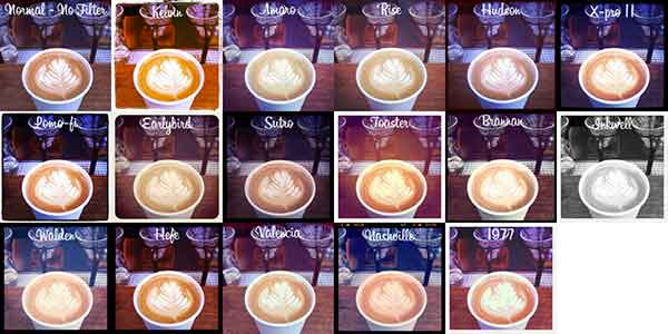 Instagram filters side-by-side