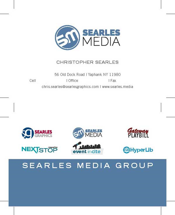 Chris Searles, Searles Media business card