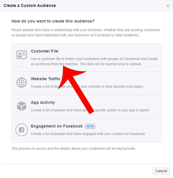 Custom Facebook audience from file