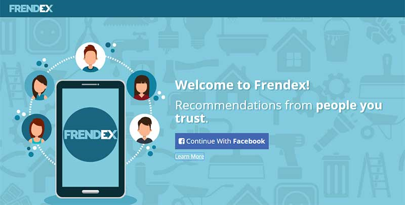 Frendex homepage screenshot