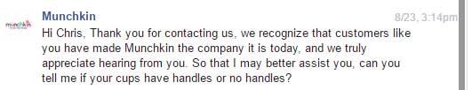 Munchkin Facebook response