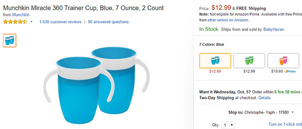 Munchkin Miracle 360 Trainer Cup on Amazon