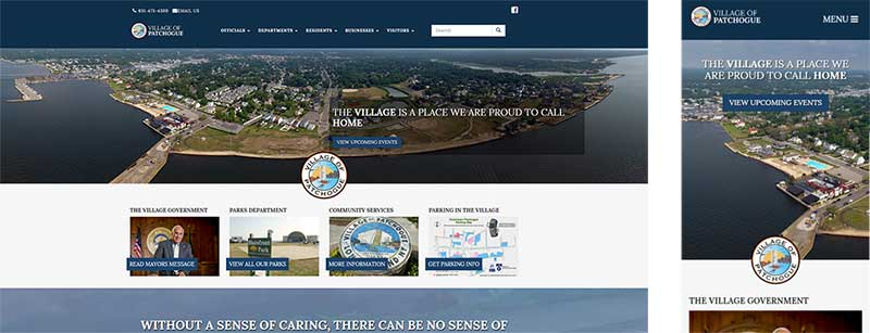 Responsive layout for Patchogue Village website