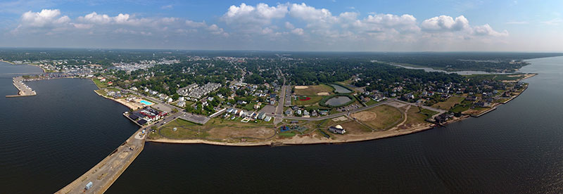 Patchogue Village waterfront panoramic photo