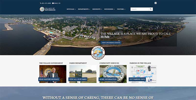 Home page for the new Patchogue Village website