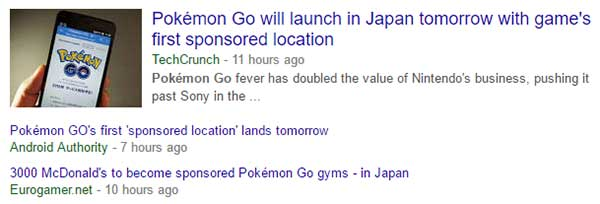Google News results for Pokemon Go sponsored locations