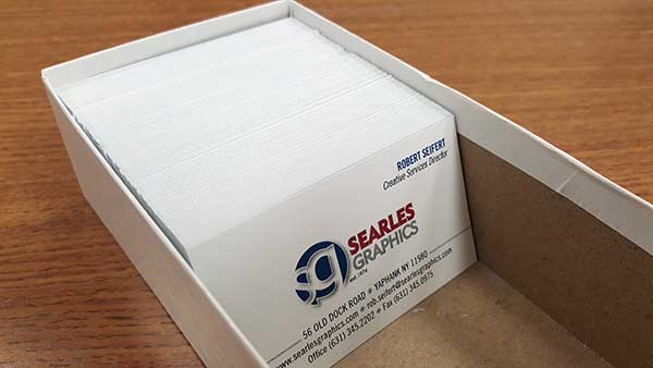 Business cards in a box
