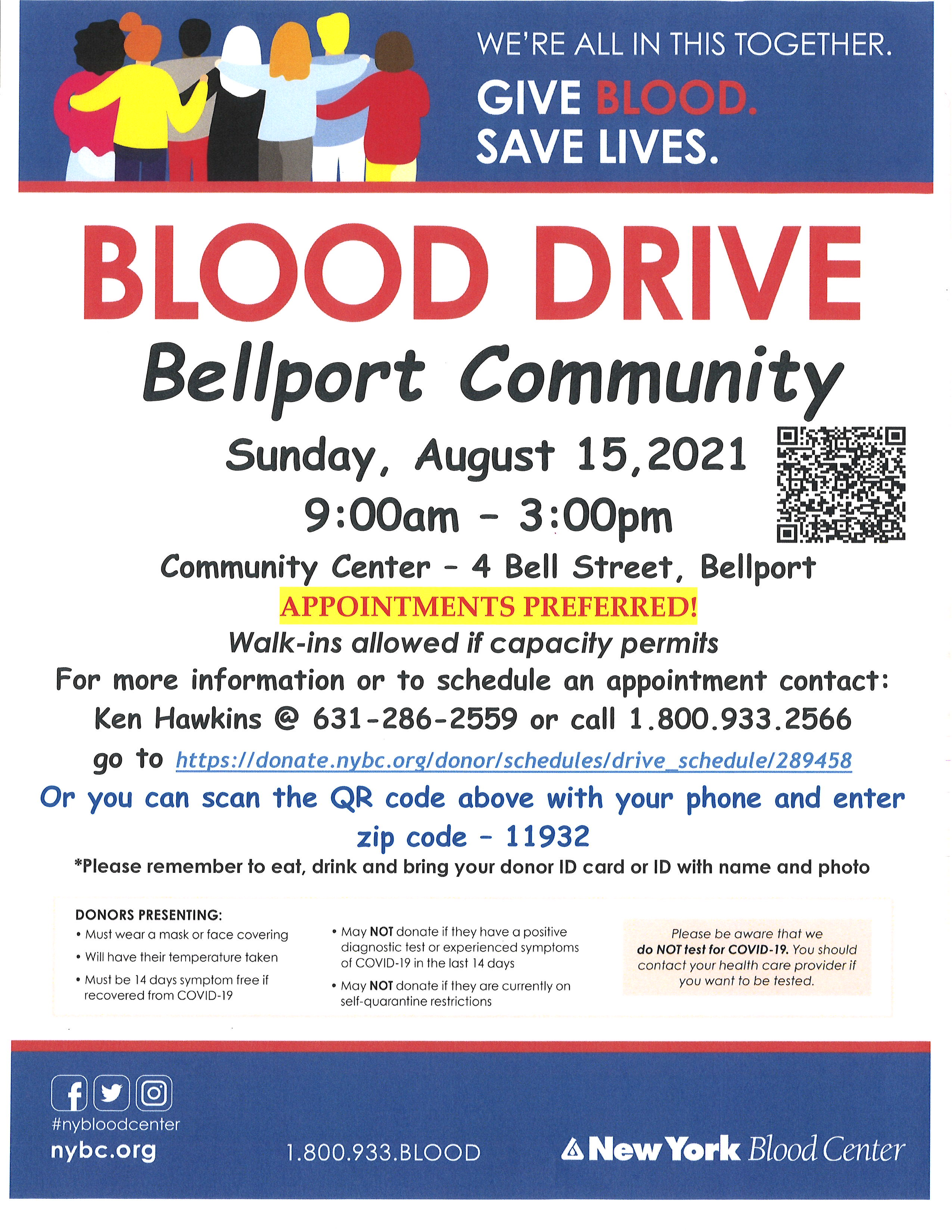 Blood Drive - Sunday, August 15, 2021 - 9:00 am until 3:00 pm - APPOINTMENTS PREFERRED