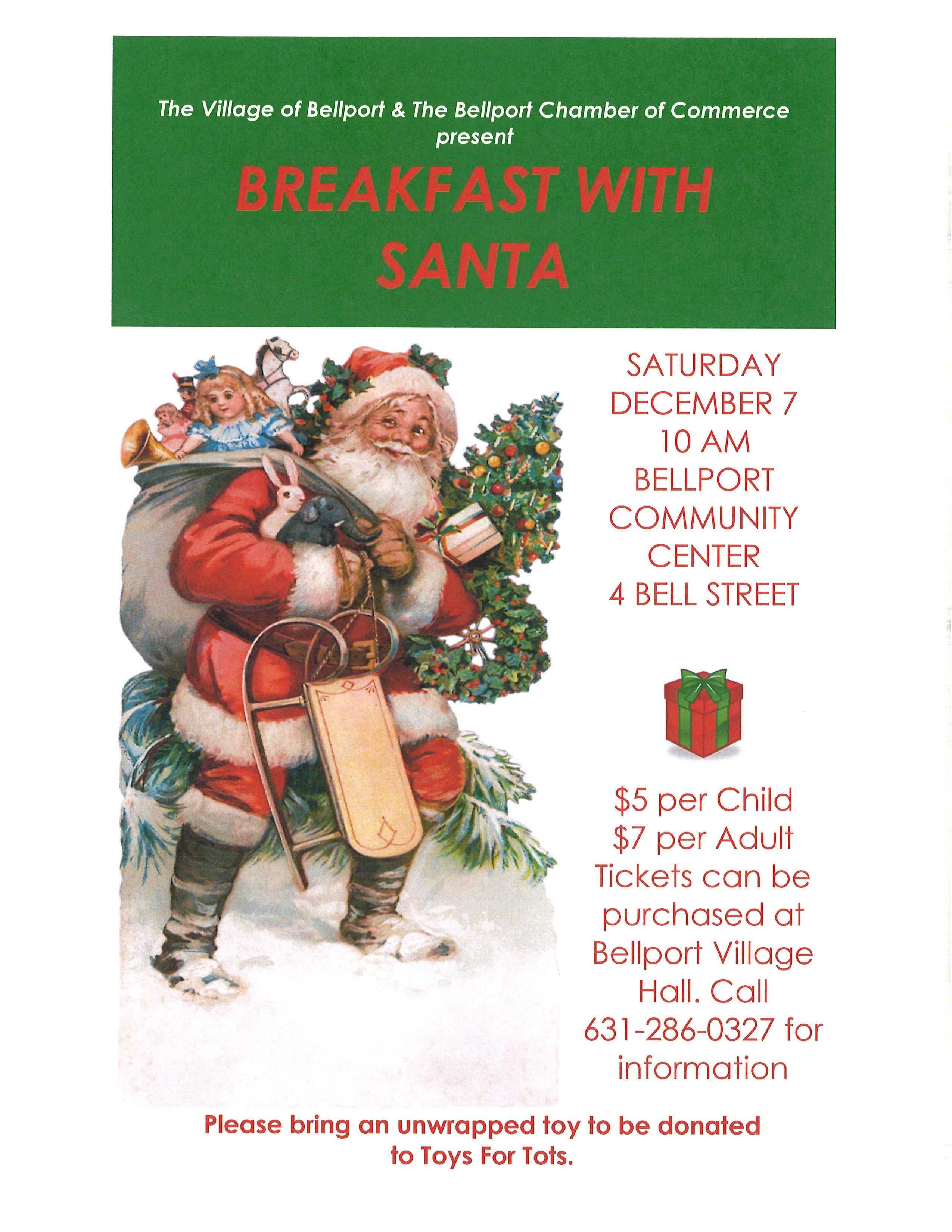 Breakfast with Santa - December 7, 2019 @ 10:00AM in the Bellport Community Center