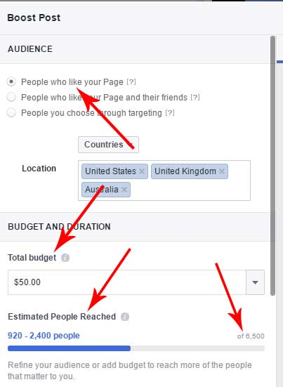 Facebook advertising reach to page fans